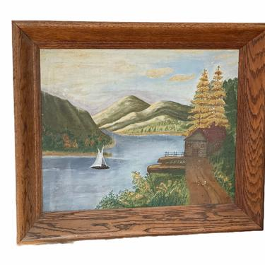 Very Vintage Scenic Lake Cottage Painting Mid Century Modern Retro Deco Victorian Primitive signed framed Patina Seattle Wyoming Kansas by BigWhaleConsignment