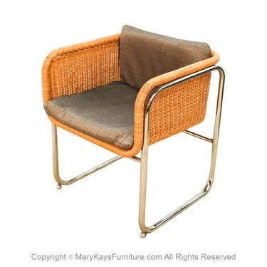 Harvey Probber Mid Century Wicker and Chrome Cantilever Dining Chair by Marykaysfurniture