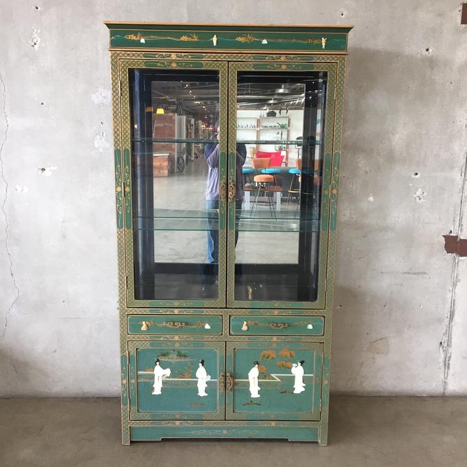 Vintage Mother of Pearl & Coral Inlaid Glass Door Cabinet