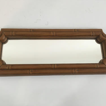Vintage Homco Plastic Bamboo Mirror Faux Wood Long Skinny Frame Mid-Century Mantique Rustic Framed Wall Hanging Made in the USA 1970s 70s by CheckEngineVintage