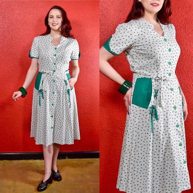 1930s 40s Cotton Shirtwaist Green & White with Corset Ties by THEGIRLCANTHELPITUSA