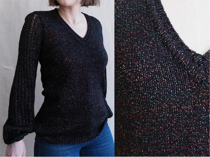 Vintage 70s Balloon Sleeve Metallic Knit Sweater/ 1970s 1980s Black Rainbow Glitter Open Sleeve Knit/ Size Medium by bottleofbread