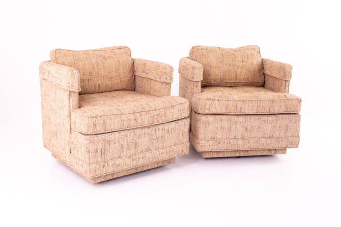 Richard Honquest for Henredon Mid Century Upholstered Rolling Lounge Chairs - Pair - mcm by ModernHill