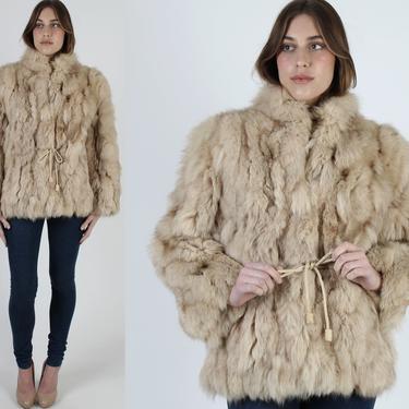 Shaggy Patchwork Fox Fur Coat / Vintage 70s Natural Arctic Fox Bomber Jacket / Womens Warm Winter Apres Ski Overcoat Jacket by americanarchive