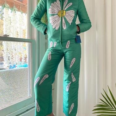 70s Novelty Print Ski Suit