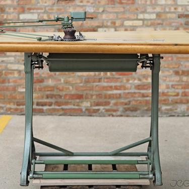 ultra-rare fully functional restored vintage industrial Kuhlman drafting table completed with drawing arm, made in Germany by jeglova