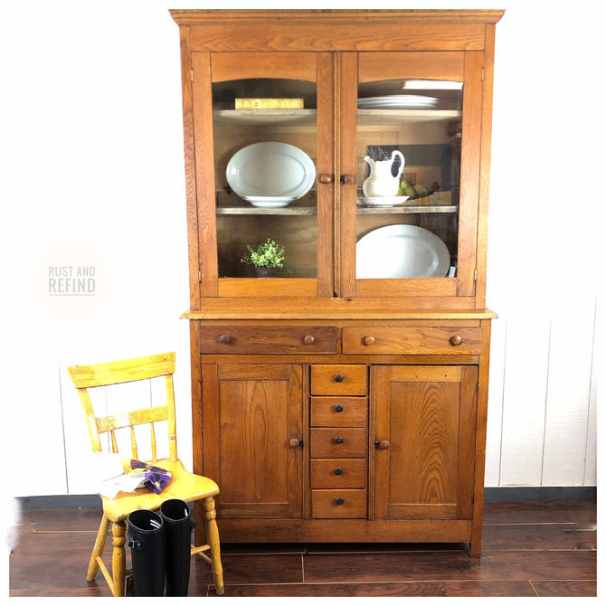 Antique Mixed Wood Hutch Cabinet, pie safe, cupboard by RustandRefind