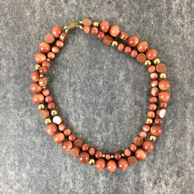Double strand goldstone necklace - vintage costume jewelry by NextStageVintage