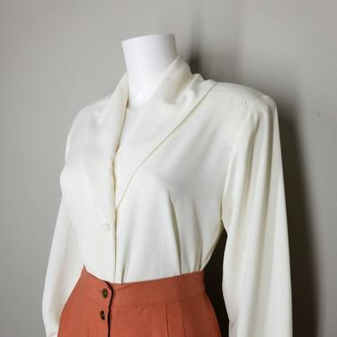 Vintage White Button Blouse, Medium / Ivory Pinup Style Dress Blouse / Silky Shawl Collar Blouse / Womens Long Sleeve White Cocktail Blouse by SoughtClothier