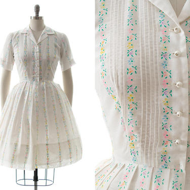 Vintage 1960s Shirt Dress | 60s Floral Striped White Cotton Blend Fit and Flare Shirtwaist Swing Dress (medium) by BirthdayLifeVintage