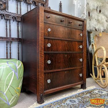 Antique oak highboy dresser with original glass pulls