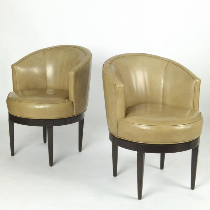 Pair of Revolving Chairs in Leather by Dunbar