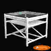 White McGuire Cane Coffee Table