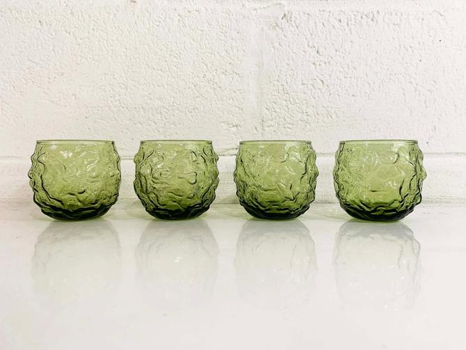 Vintage Avocado Geen Anchor Hocking Lido Milano Crinkle Glass Glasses Set of Four Roly Poly Rocks Textured Old Fashioned 1960s 1970s Nubby by CheckEngineVintage