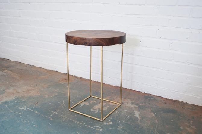 Crescent Side Table - Solid Walnut and Brass Base by dylangrey