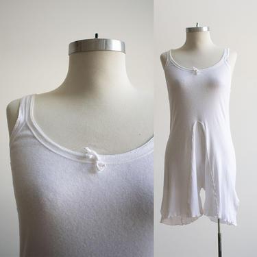 True Vintage Undergarments / Vintage Jersey Knit Step In / One Piece Vintage Pajamas / Vintage Jersey Knit Romper / Vintage 1940s Pajamas by milkandice