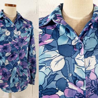 Vintage Floral Shirt Button Front Long Sleeve Top Pointed Collar Blouse Blue Purple White 70s 1970s Small Medium by CheckEngineVintage