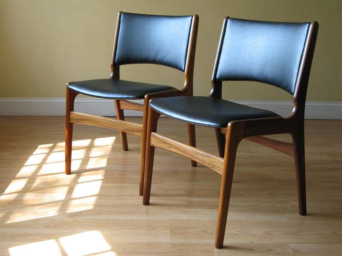Set of FOUR Erik Buch Teak Chairs in Black Faux Leather by ASISisNOTgoodENOUGH