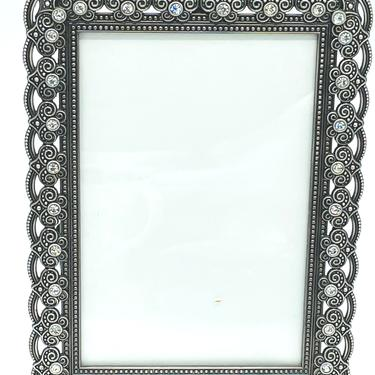 Vintage Rhinestone Pewter Metal Silver PICTURE FRAME Art Deco Style Decorative Jewels 6 X 7.5 by JoAnntiques