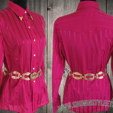 H Bar C, California Ranchwear Vintage Western Women's Cowgirl Shirt, Rodeo Blouse, Dark Pink, Approx. Size Small (see meas. photo) by ShowinStyle