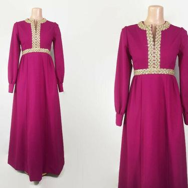 VINTAGE 60s Magenta Empire Maxi Dress with Embellishments   1960s Long Sleeve Hostess Gown   Vintage Formal Party Dress by IntrigueU4Ever