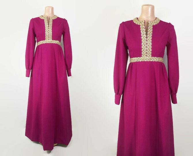VINTAGE 60s Magenta Empire Maxi Dress with Embellishments | 1960s Long Sleeve Hostess Gown | Vintage Formal Party Dress by IntrigueU4Ever