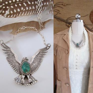 ROBERT KELLY Navajo Flying Eagle Silver & Green Turquoise Necklace   Robt Kelly Mystical Bird Pendant, Southwestern Native American Jewelry by lovestreetsf