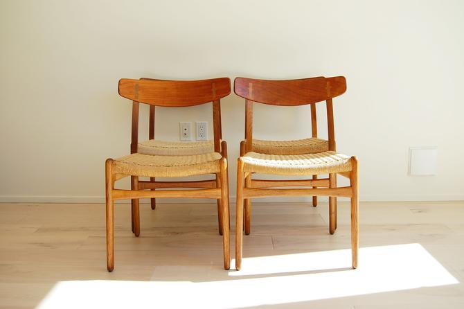 Danish Modern Hans Wegner Teak and Oak Dining Chairs CH-23 - Set of 4 by MidCentury55