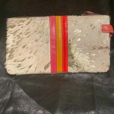 Gold - Leather and Hair Hide Wristlet