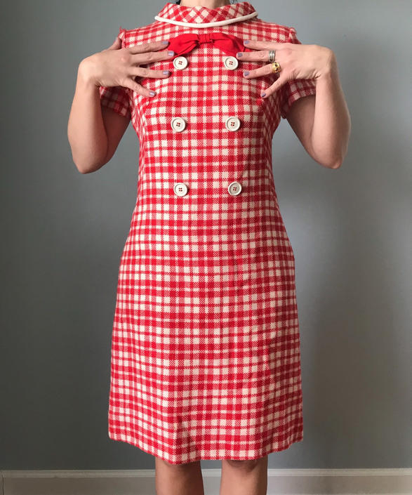 vintage 60s SAKS FIFTH AVENUE mod shift dress | red and white checkered wool shirt sleeve dress by LosGitanosVintage