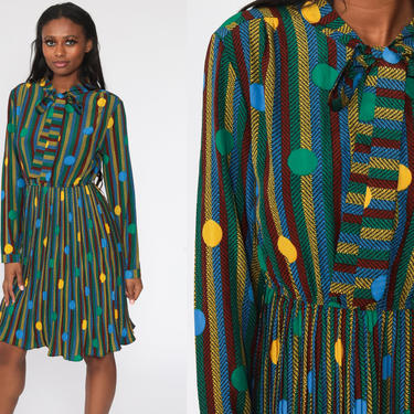 90s Midi Dress Polka DOT Print Boho 80s Ascot Bow Secretary High Waisted Midi PLEATED 1990s Long Sleeve Striped Vintage Bohemian Medium by ShopExile