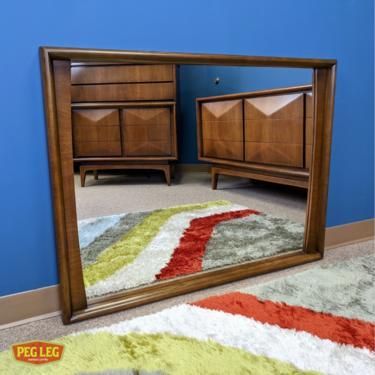 Mid-Century Modern walnut mirror by United Furniture
