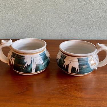 Vintage John Schulps soup mugs / set of 2 California pottery bowls / signed midcentury wax resist by EarthshipVintage