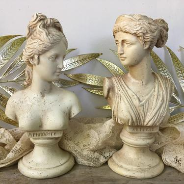 Grecian Lady Busts, Partial Busts Aphrodite And Artemus, Half Plaster Small Busts, One Is Repaired, Vintage Mythology by luckduck