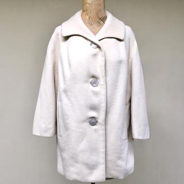 Vintage 1950s Ivory Wool Coat, 50s Bullock's Wilshire Forstmann Jacket, 3/4 Length Raglan Sleeve Car Coat, Mid-Century Swing Coat, Medium by RanchQueenVintage