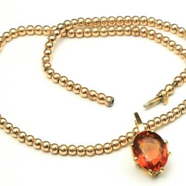 Vintage 18k Gold 4.5 Carat Citrine Gemstone Pendant W/ Gold Ball Chain Necklace by HouseofVintageOnline