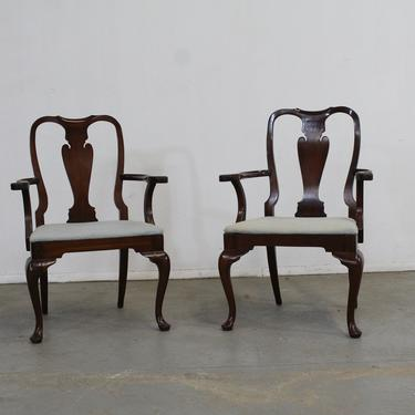 Pair of Reproduction Queen Anne Solid Mahogany Arm Dining Chairs by AnnexMarketplace