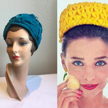Softer Than Softness - Vintage 1960s Gage Peacock Teal Blue Velvet Gathered Cloche Beehive Dome Hat by RoadsLessTravelled2