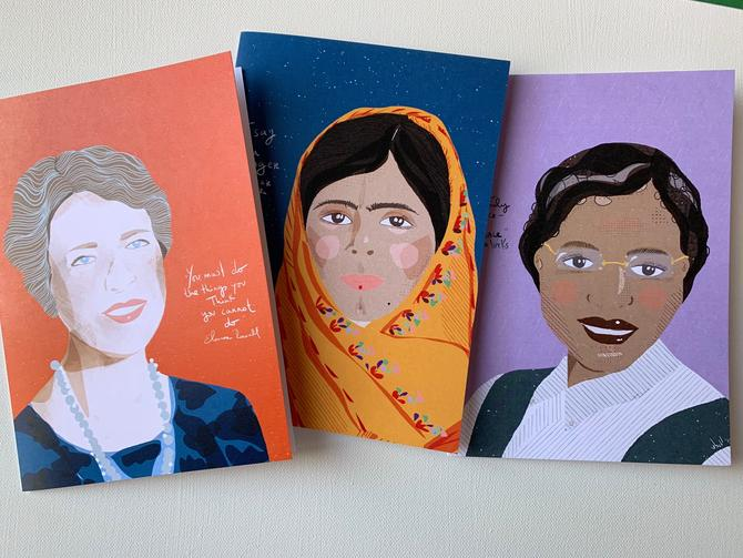Trailblazers Eleanor, Malala and Rosa Parks card set | 3 iconic women card | Set of 3 | stationary by VioletredStudio
