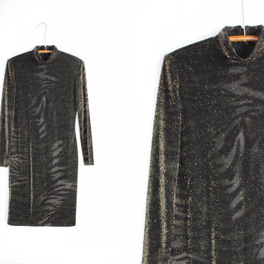 Vintage Cocktail Dress / 90's Ellen Tracy Long Sleeve Midi / Party Dress Small by smockwalkervintage