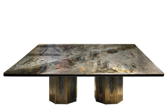 """Philip & Kelvin LaVerne Rare """"Chan"""" Dining Table 1960s (signed)"""