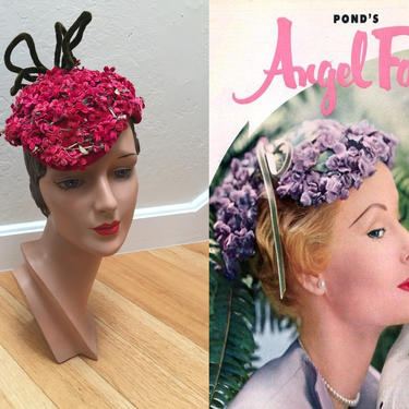 She Had That Angel Face - Vintage 1950s Fuchsia Hot Pink Floral Oval Caplet Hat w/Wire Bows by RoadsLessTravelled2