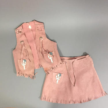 f05d9467b Vintage Costume / Kids Western Costume / Pink Suede Cowgirl Costume / 2pc Suede  Vest and