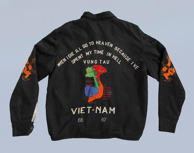 Vintage 60s Vietnam Tour Jacket / When I Die I'll Go To Heaven Because I've Spent My Time In Hell / Authentic War Souvenir Jacket by GuermantesVintage