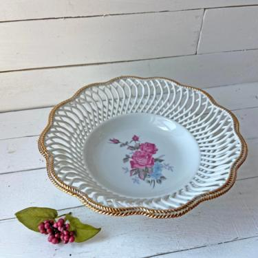 Vintage Gold Rim Bowl With Roses, Rose Trinket Dish, Rose Catch All // Victorian Vanity Tray, Cute Rose Bowl // Perfect Gift by CuriouslyCuratedShop
