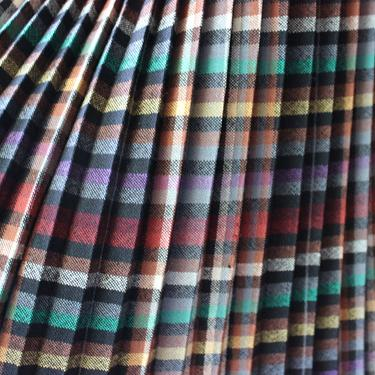 1970s Wool Pleated Accordion Plaid Skirt by Ferngodvintage