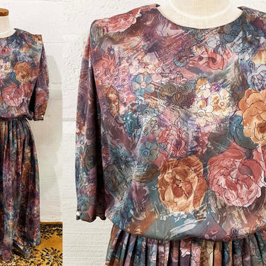 Vintage Pastel Dress Watercolor Earth Tones Brown Rose Fog 1980s Brushstroke Puffed Short Sleeves 80s 1990s 90s Plus Volup Curvy XXL 2XL XL by CheckEngineVintage