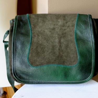 1970s Green Suede Leather Bag by Ferngodvintage