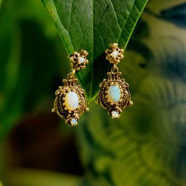 Vintage 14K Gold Opal Drop Earrings, Ornate Gold Stud Teardrop Earrings With Iridescent Opal Stones, Beautiful 14K Natural Opal Earrings by shopGoodsVintage