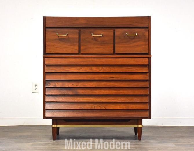 American of Martinsville Walnut Tall Dresser by mixedmodern1